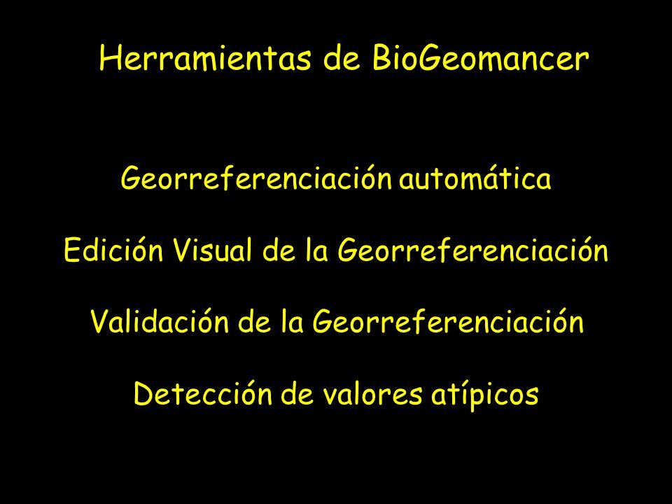 Herramientas de BioGeomancer Georreferenciación automática Edición Visual de la Georreferenciación Validación de la Georreferenciación Detección de va