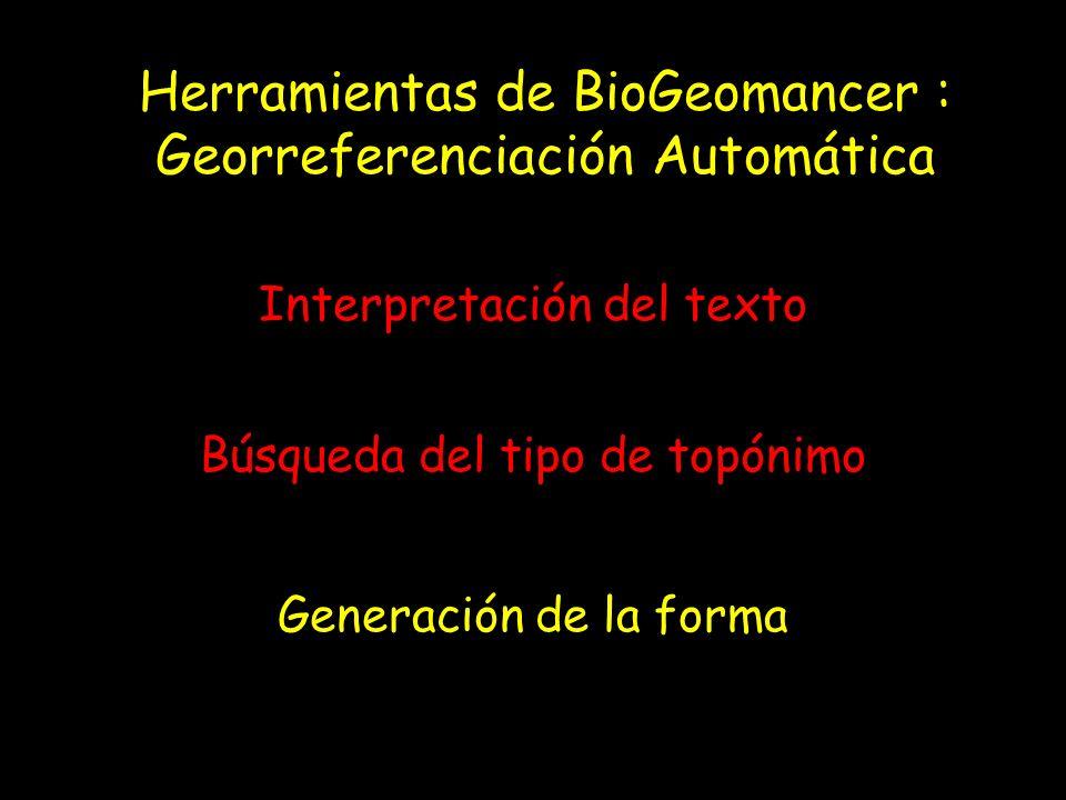 Herramientas de BioGeomancer : Georreferenciación Automática Interpretación del texto Búsqueda del tipo de topónimo Generación de la forma