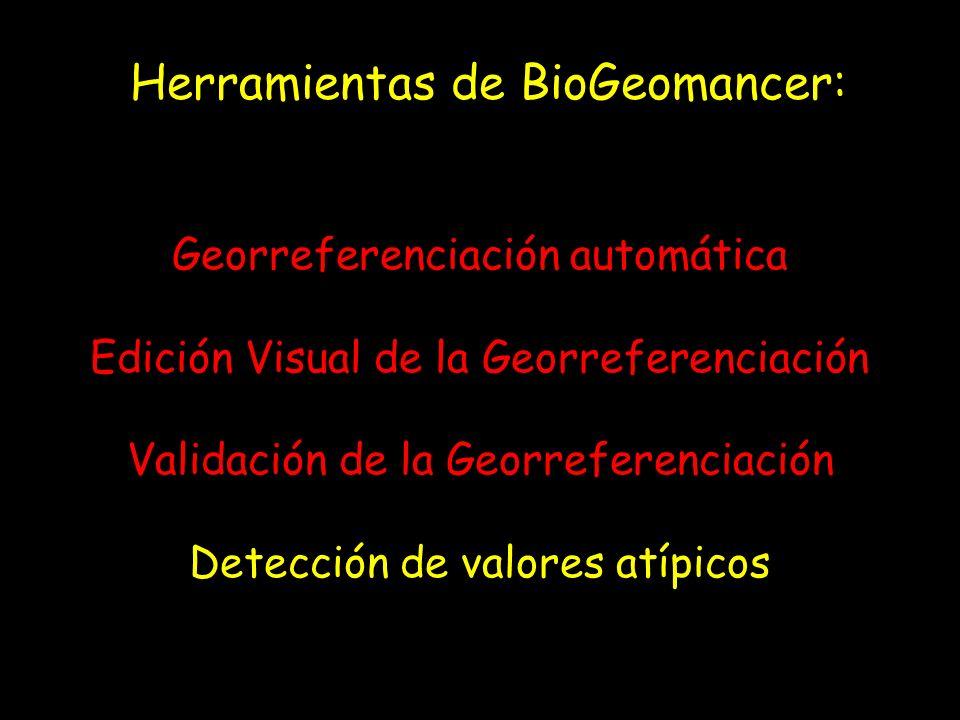 Herramientas de BioGeomancer: Georreferenciación automática Edición Visual de la Georreferenciación Validación de la Georreferenciación Detección de v