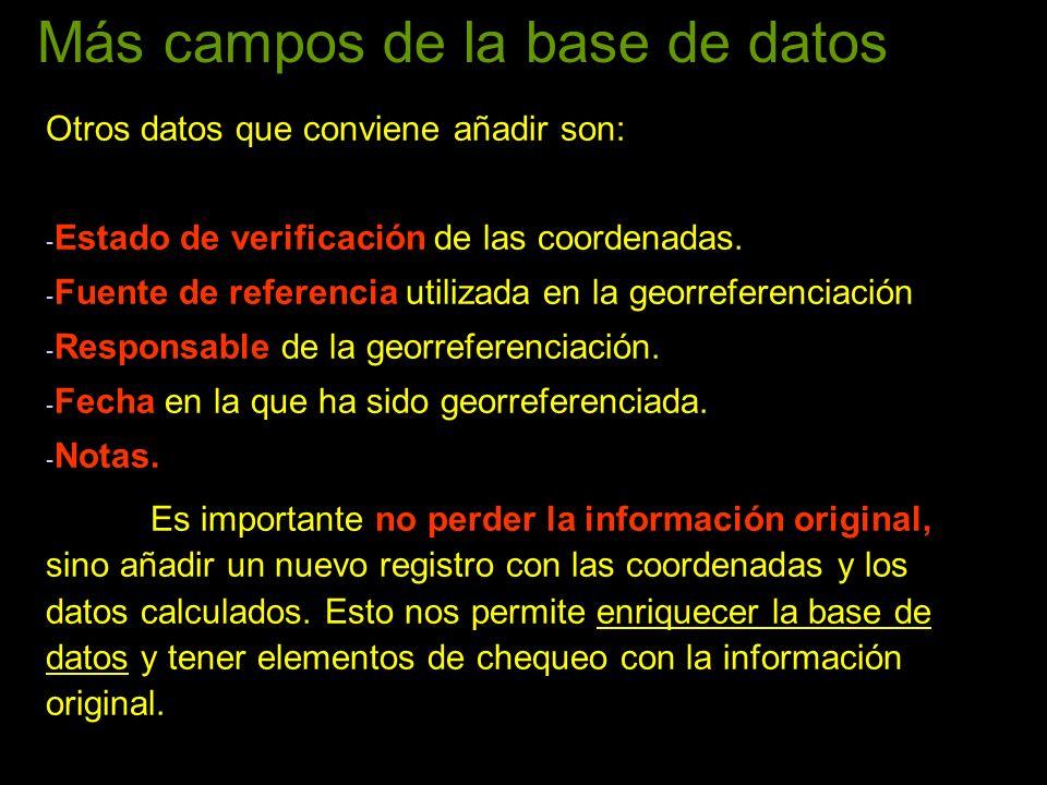 Más campos de la base de datos Otros datos que conviene añadir son: - Estado de verificación de las coordenadas. - Fuente de referencia utilizada en l