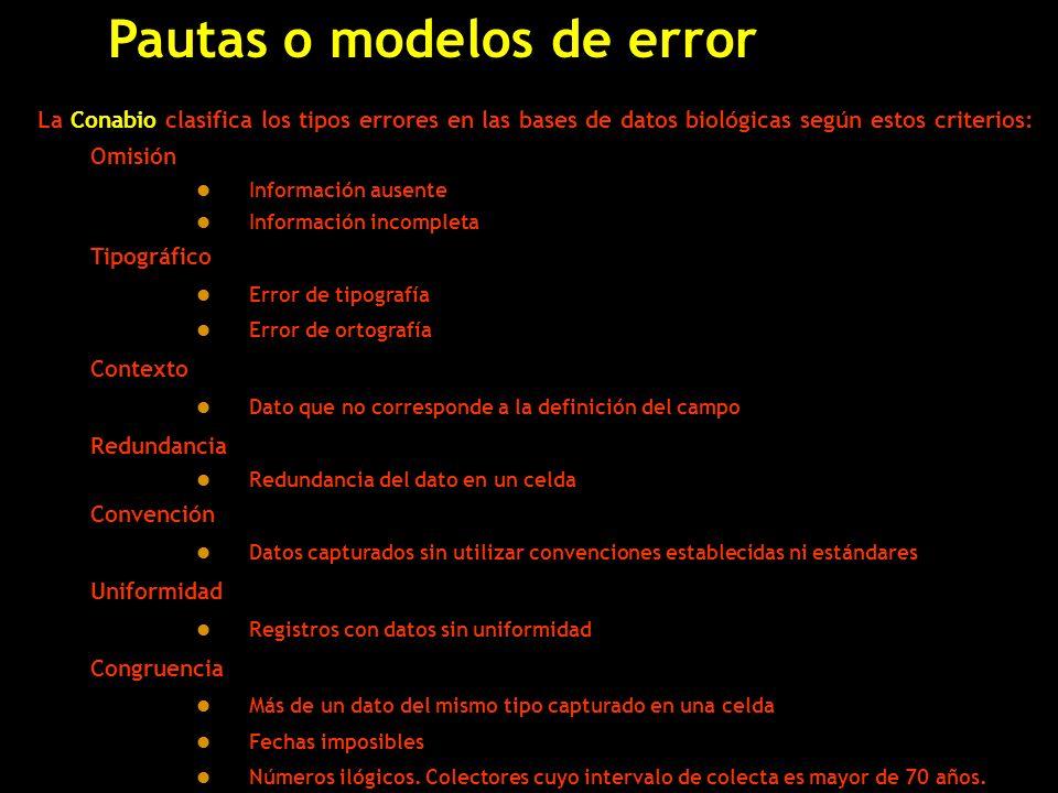 Pautas o modelos de error La Conabio clasifica los tipos errores en las bases de datos biológicas según estos criterios: Omisión l Información ausente