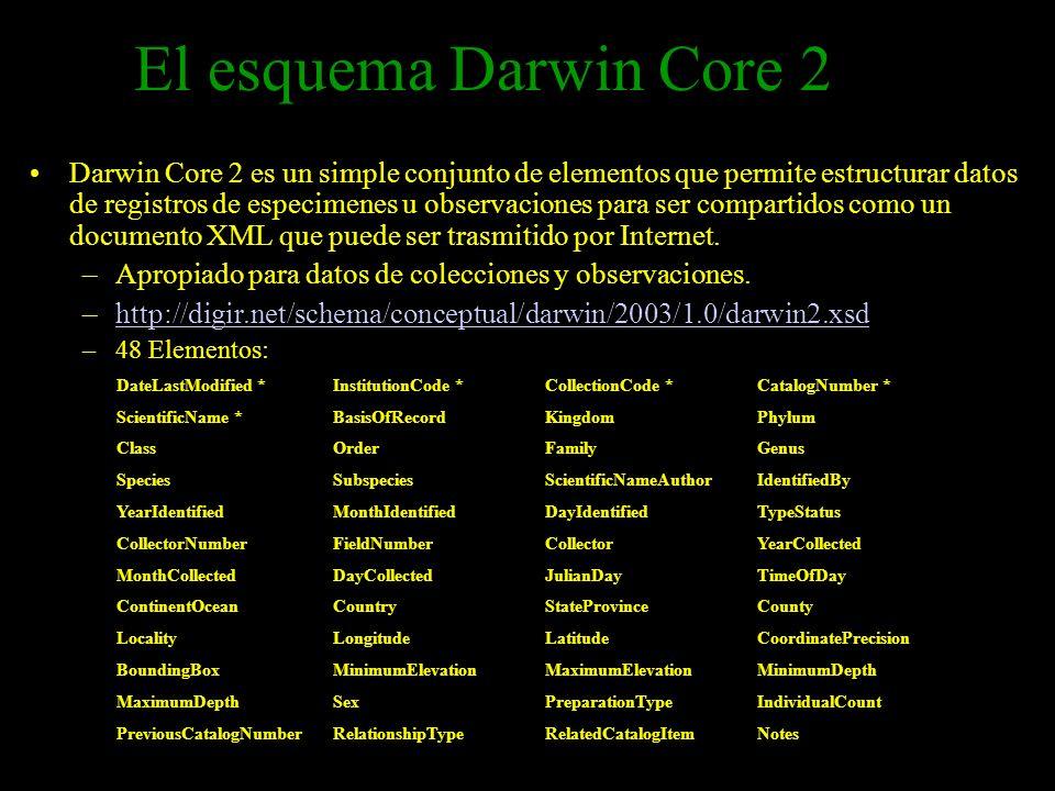 El esquema Darwin Core 2 Darwin Core 2 es un simple conjunto de elementos que permite estructurar datos de registros de especimenes u observaciones pa