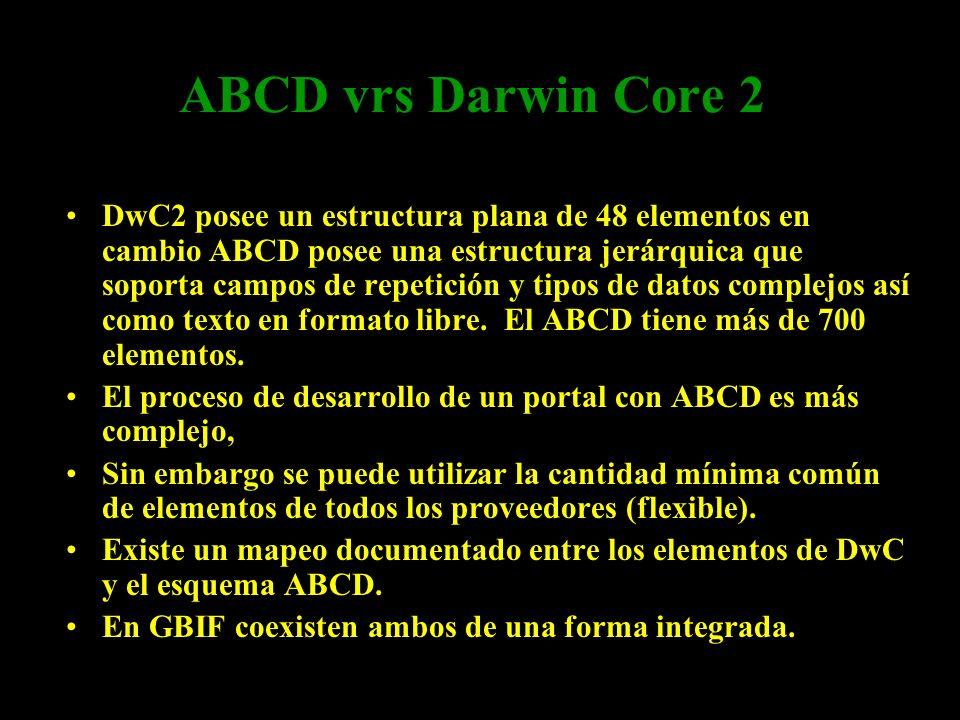 ABCD vrs Darwin Core 2 ABCD y DwC2 son estándares complementarios. DwC2 posee un estructura plana de 48 elementos en cambio ABCD posee una estructura