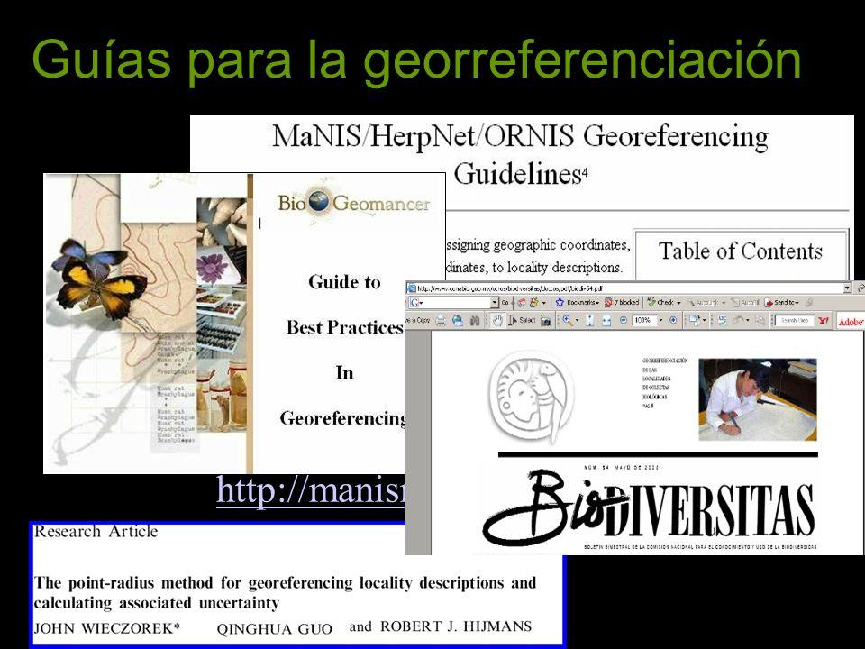 Guías para la georreferenciación http://manisnet.org/GeorefGuide.html