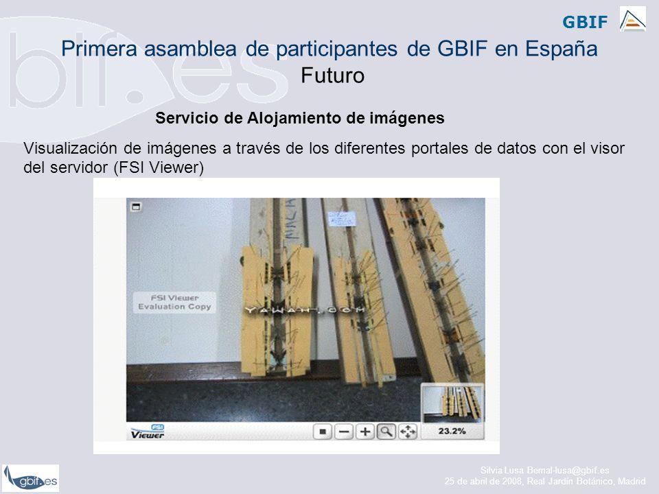 GBIF Servicio de Alojamiento de imágenes Visualización de imágenes a través de los diferentes portales de datos con el visor del servidor (FSI Viewer) Primera asamblea de participantes de GBIF en España Futuro Silvia Lusa Bernal-lusa@gbif.es 25 de abril de 2008, Real Jardín Botánico, Madrid