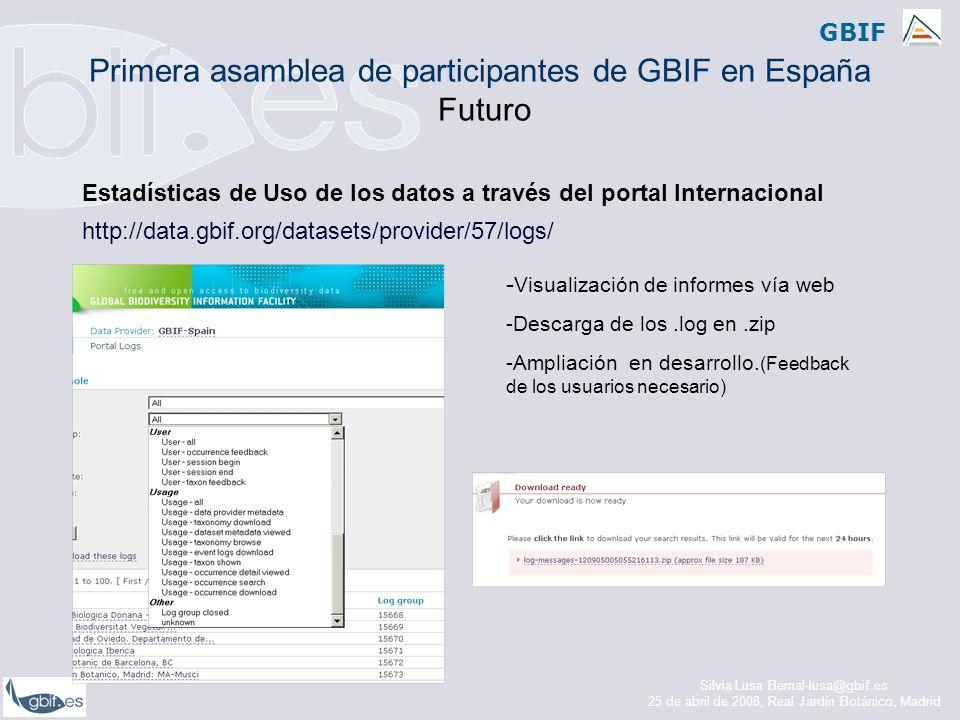 GBIF Estadísticas de Uso de los datos a través del portal Internacional http://data.gbif.org/datasets/provider/57/logs/ - Visualización de informes vía web -Descarga de los.log en.zip -Ampliación en desarrollo.