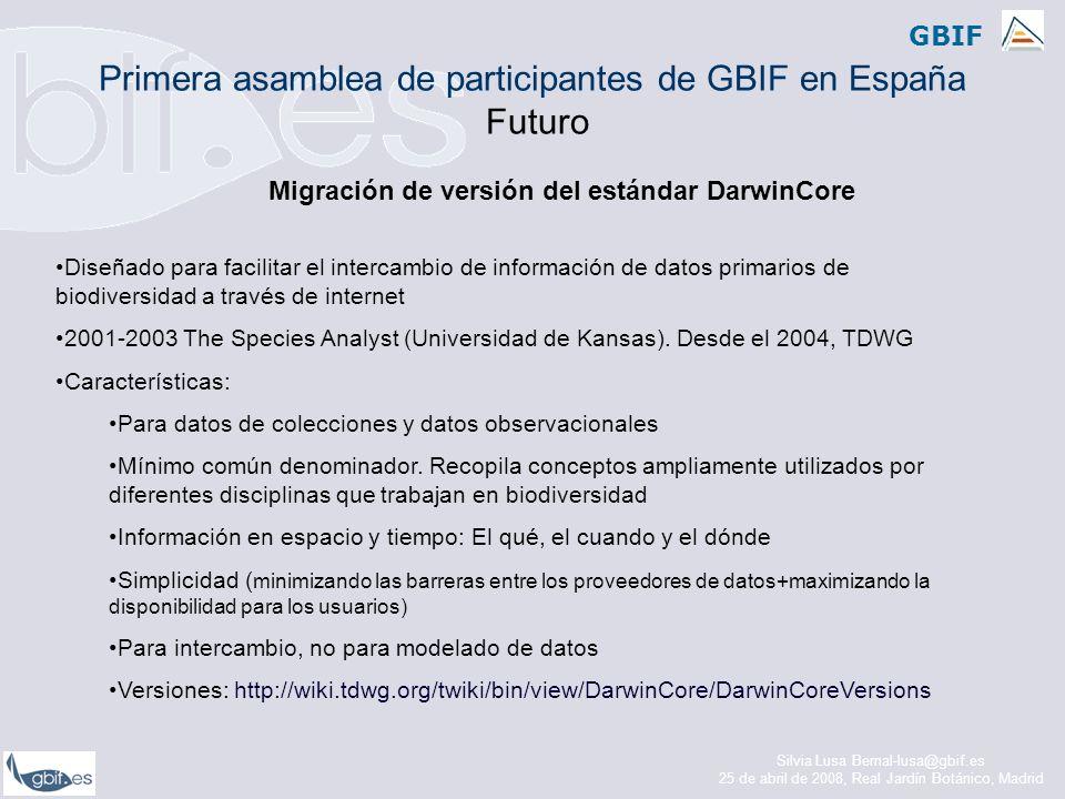 GBIF Migración de versión del estándar DarwinCore Diseñado para facilitar el intercambio de información de datos primarios de biodiversidad a través de internet 2001-2003 The Species Analyst (Universidad de Kansas).