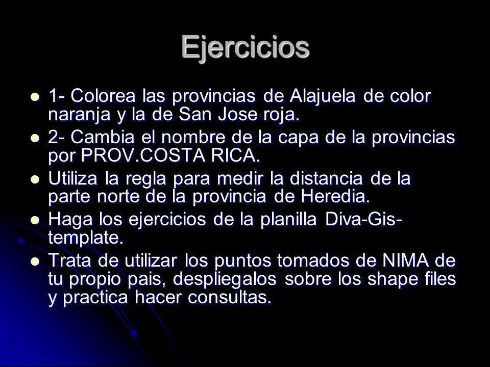 Ejercicios 1- Colorea las provincias de Alajuela de color naranja y la de San Jose roja. 1- Colorea las provincias de Alajuela de color naranja y la d