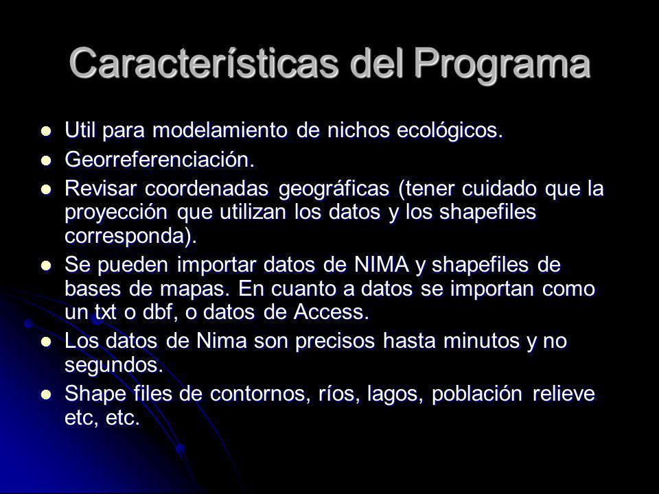 Características del Programa Util para modelamiento de nichos ecológicos. Util para modelamiento de nichos ecológicos. Georreferenciación. Georreferen