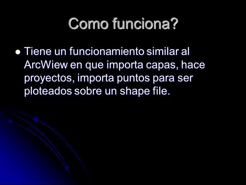 Como funciona? Tiene un funcionamiento similar al ArcWiew en que importa capas, hace proyectos, importa puntos para ser ploteados sobre un shape file.