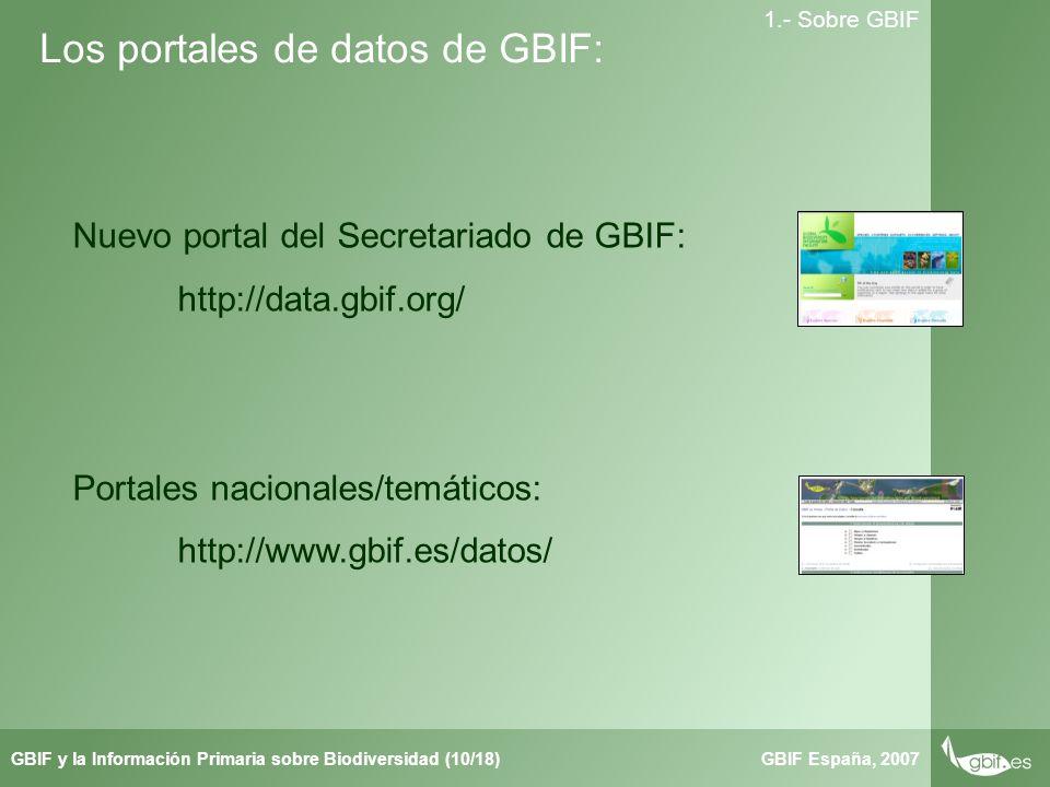 Taller de Herbar GBIF España, 2007GBIF y la Información Primaria sobre Biodiversidad (10/18) 1.- Sobre GBIF Los portales de datos de GBIF: Nuevo portal del Secretariado de GBIF: http://data.gbif.org/ Portales nacionales/temáticos: http://www.gbif.es/datos/
