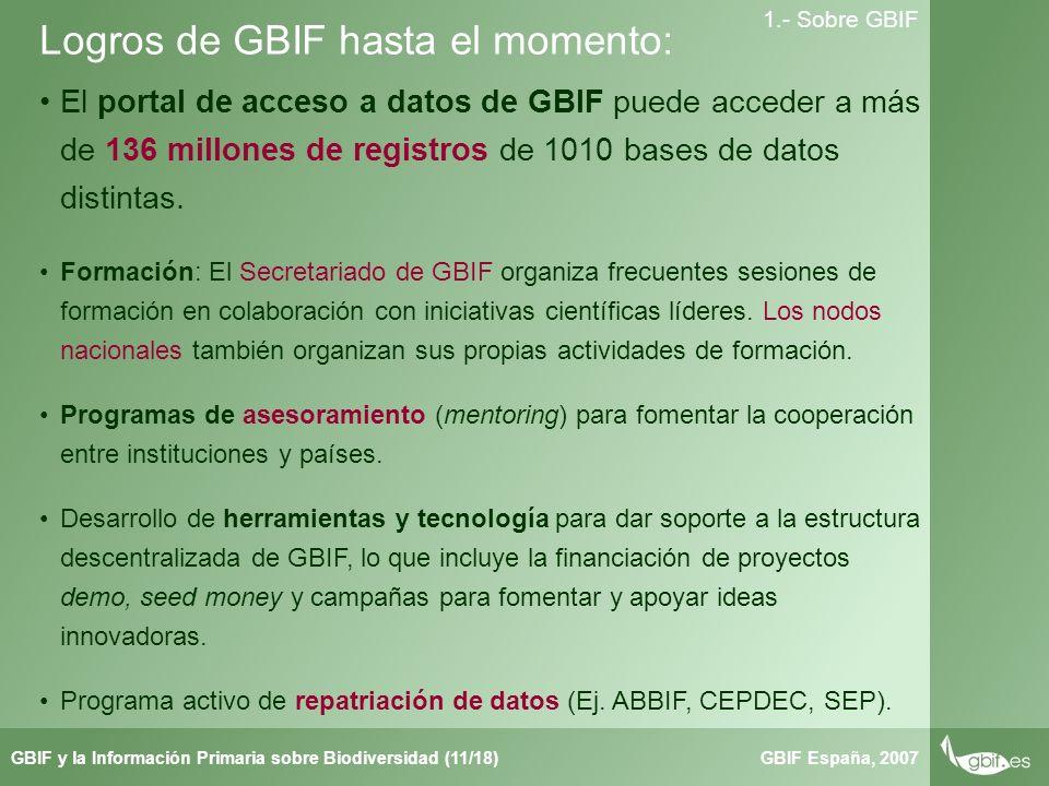 Taller de Herbar GBIF España, 2007GBIF y la Información Primaria sobre Biodiversidad (11/18) 1.- Sobre GBIF Logros de GBIF hasta el momento: El portal de acceso a datos de GBIF puede acceder a más de 136 millones de registros de 1010 bases de datos distintas.