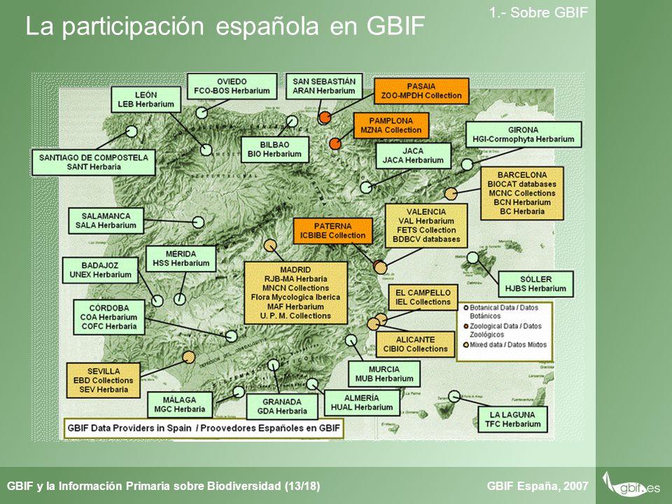Taller de Herbar GBIF España, 2007GBIF y la Información Primaria sobre Biodiversidad (13/18) 1.- Sobre GBIF La participación española en GBIF