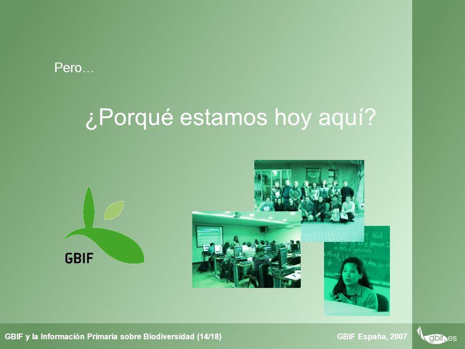 Taller de Herbar GBIF España, 2007GBIF y la Información Primaria sobre Biodiversidad (14/18) ¿Porqué estamos hoy aquí.