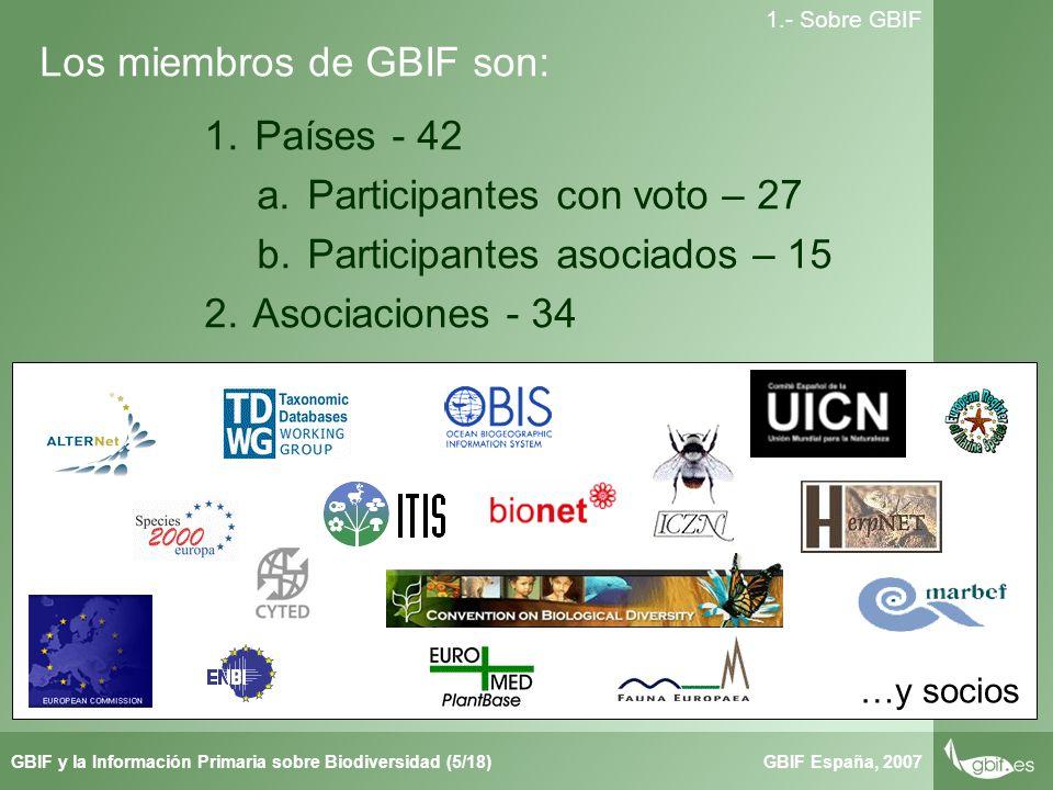Taller de Herbar GBIF España, 2007GBIF y la Información Primaria sobre Biodiversidad (5/18) 1.- Sobre GBIF Los miembros de GBIF son: 1.