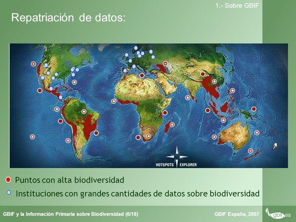 Taller de Herbar GBIF España, 2007GBIF y la Información Primaria sobre Biodiversidad (6/18) 1.- Sobre GBIF Repatriación de datos: Puntos con alta biodiversidad Instituciones con grandes cantidades de datos sobre biodiversidad