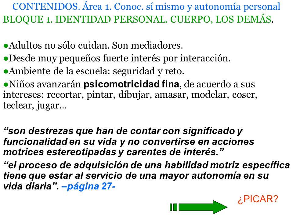 CONTENIDOS.Área 1. Conoc. sí mismo y autonomía personal BLOQUE 2.