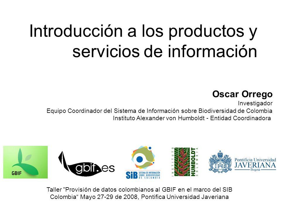 Definición de productos y servicios Producto de información.