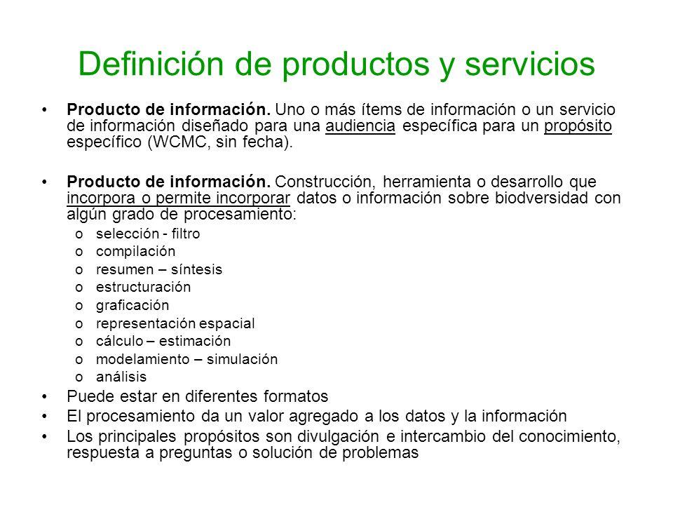 Definición de productos y servicios Producto de información. Uno o más ítems de información o un servicio de información diseñado para una audiencia e