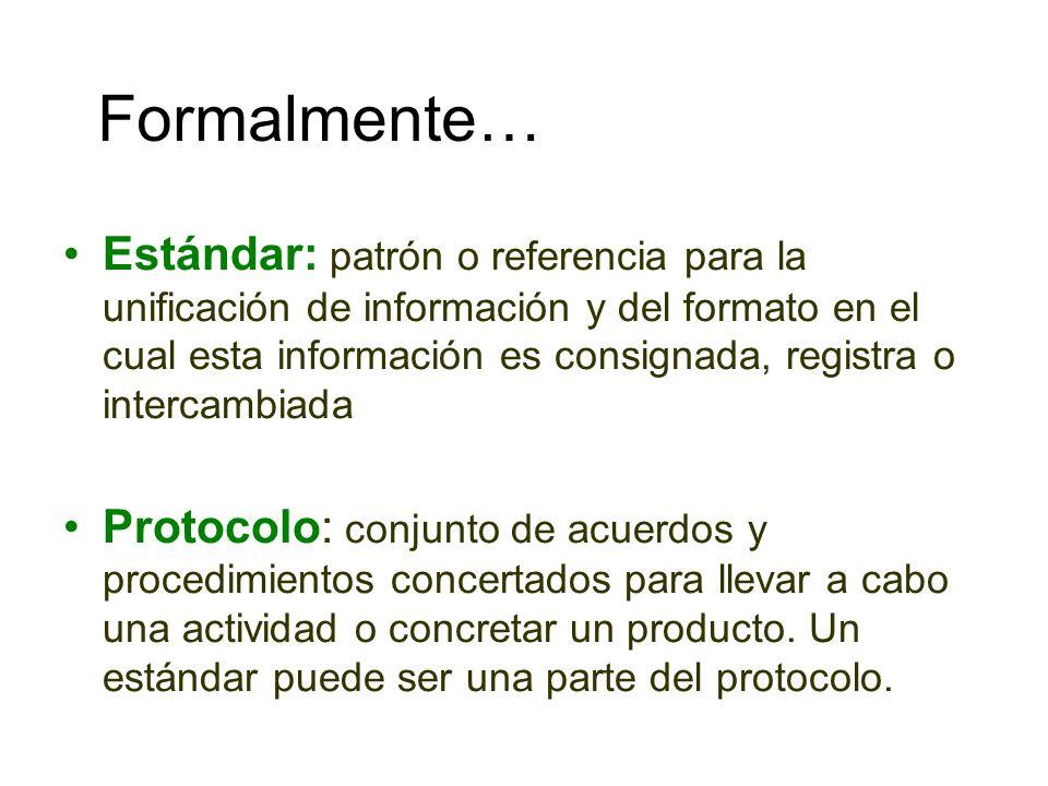 Formalmente… Estándar: patrón o referencia para la unificación de información y del formato en el cual esta información es consignada, registra o inte