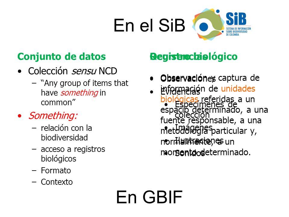Conjunto de datos Colección sensu NCD –Any group of items that have something in common Something: –relación con la biodiversidad –acceso a registros
