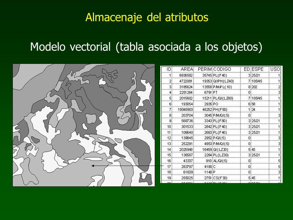 Modelo vectorial (tabla asociada a los objetos) Almacenaje del atributos