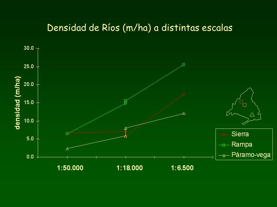 Densidad de Ríos (m/ha) a distintas escalas