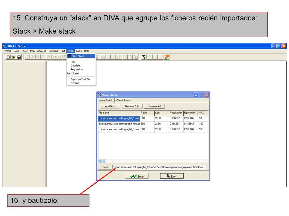15. Construye un stack en DIVA que agrupe los ficheros recién importados: Stack > Make stack 16. y bautízalo: