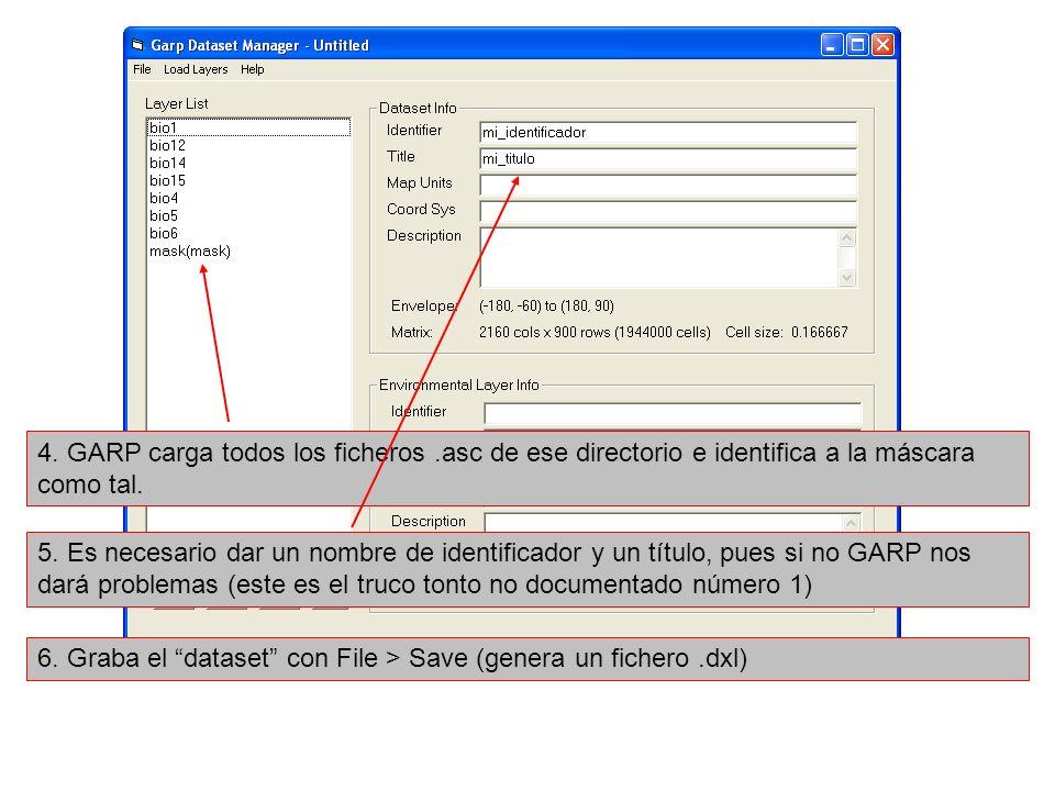 4. GARP carga todos los ficheros.asc de ese directorio e identifica a la máscara como tal. 5. Es necesario dar un nombre de identificador y un título,