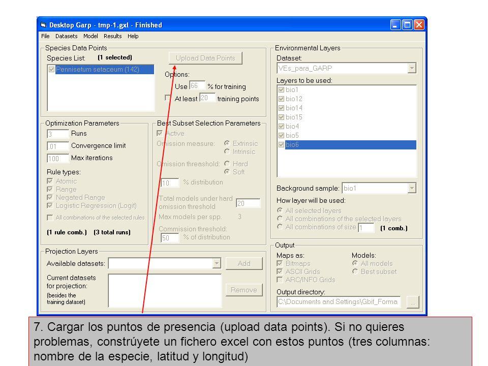 7. Cargar los puntos de presencia (upload data points). Si no quieres problemas, constrúyete un fichero excel con estos puntos (tres columnas: nombre