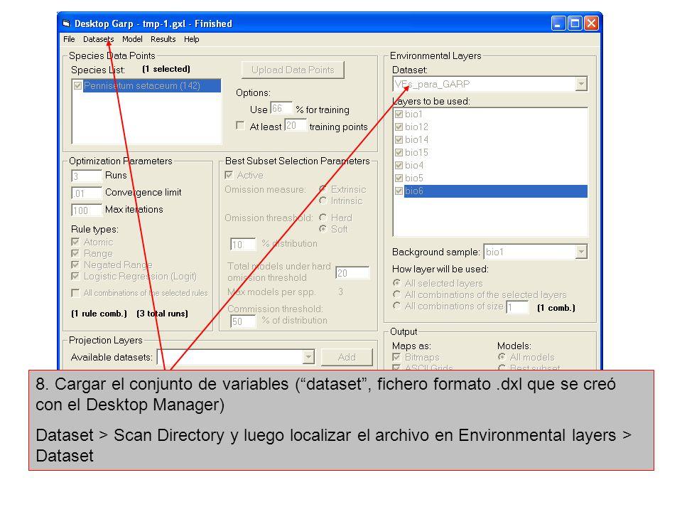 8. Cargar el conjunto de variables (dataset, fichero formato.dxl que se creó con el Desktop Manager) Dataset > Scan Directory y luego localizar el arc