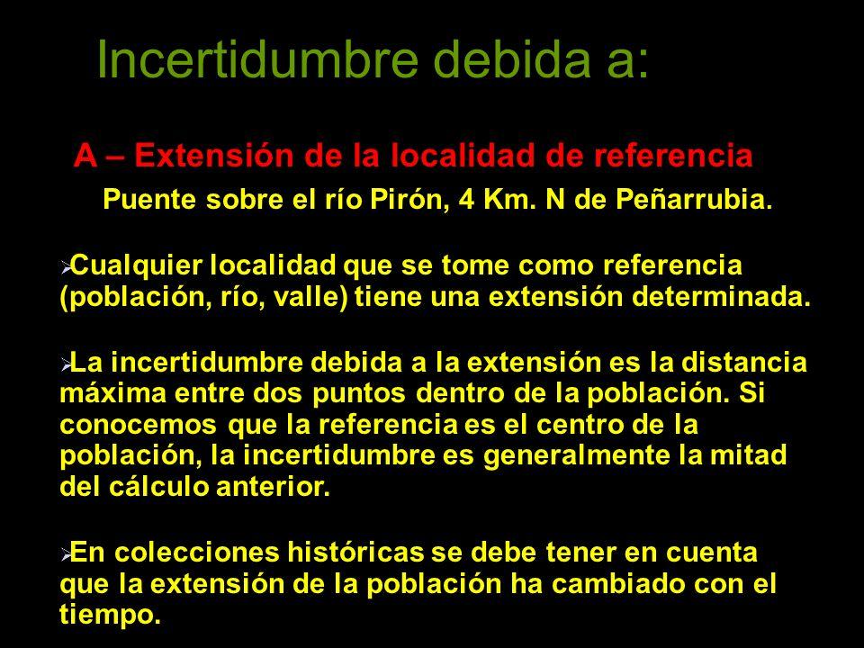 Incertidumbre debida a: A – Extensión de la localidad de referencia Puente sobre el río Pirón, 4 Km.