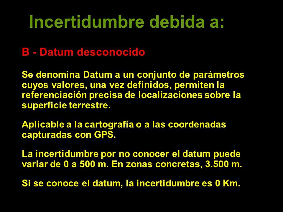 Incertidumbre debida a: B - Datum desconocido Se denomina Datum a un conjunto de parámetros cuyos valores, una vez definidos, permiten la referenciación precisa de localizaciones sobre la superficie terrestre.