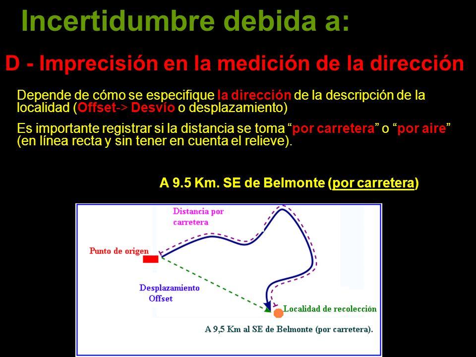 D - Imprecisión en la medición de la dirección Depende de cómo se especifique la dirección de la descripción de la localidad (Offset-> Desvío o desplazamiento) Es importante registrar si la distancia se toma por carretera o por aire (en línea recta y sin tener en cuenta el relieve).