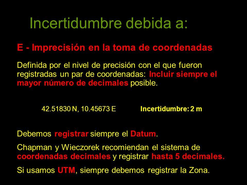 Incertidumbre debida a: E - Imprecisión en la toma de coordenadas Definida por el nivel de precisión con el que fueron registradas un par de coordenadas: Incluir siempre el mayor número de decimales posible.