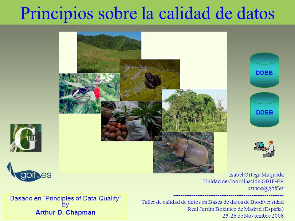 Usando los datos sobre especies Estudios taxonómicos, ecológicos, biogeográficos, filogenéticos Modelado de datos de especies Estudios de población y distribución de especies Estudios sobre especies amenazadas, sobre migración de especies.