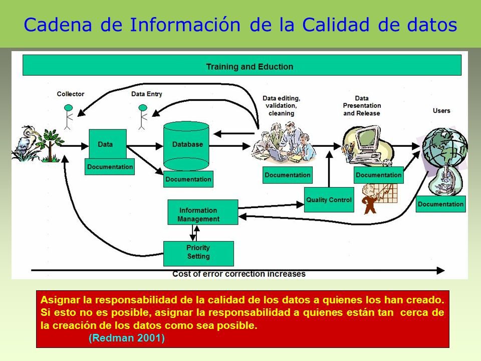 Cadena de Información de la Calidad de datos Asignar la responsabilidad de la calidad de los datos a quienes los han creado.