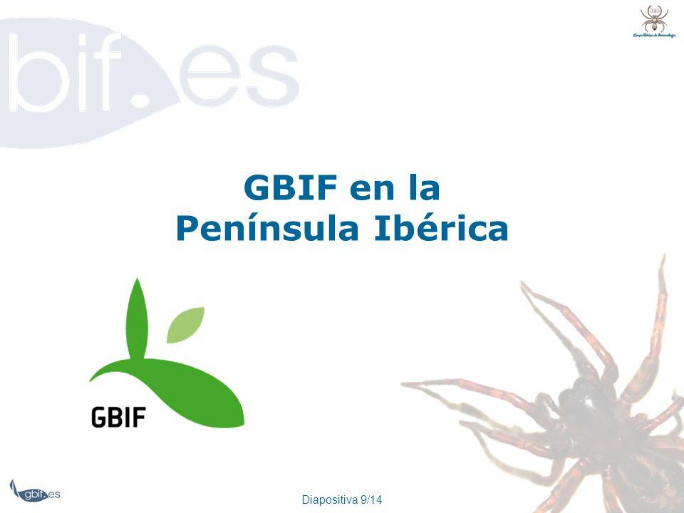 Diapositiva 9/14 GBIF en la Península Ibérica
