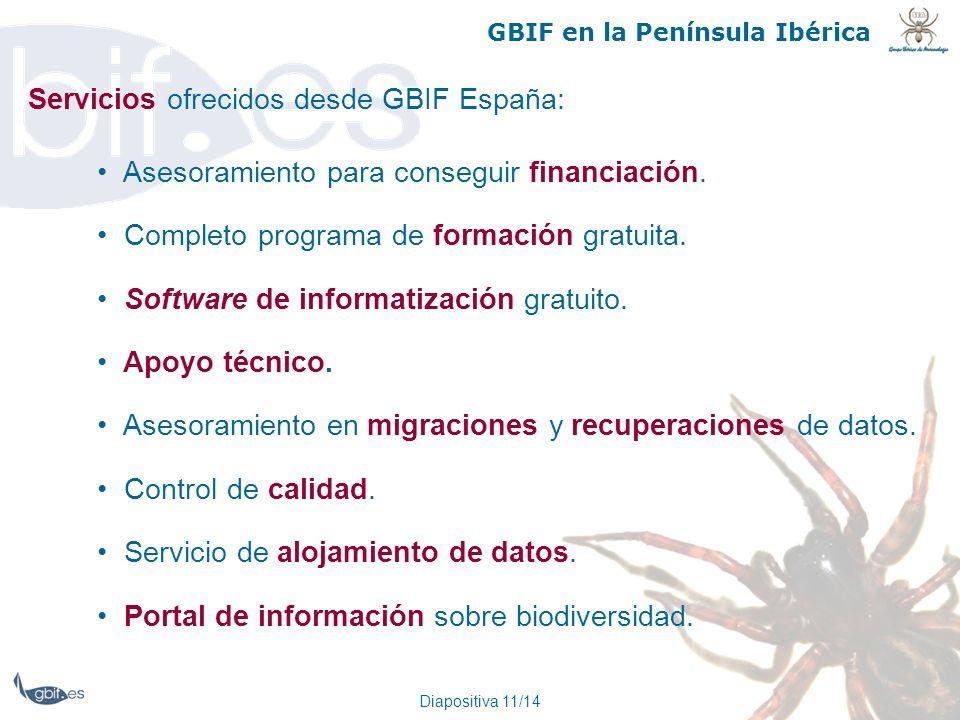Diapositiva 11/14 GBIF en la Península Ibérica Servicios ofrecidos desde GBIF España: Asesoramiento para conseguir financiación. Completo programa de