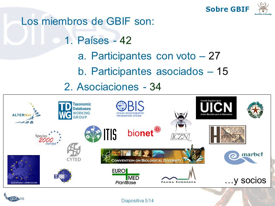 Diapositiva 5/14 Sobre GBIF Los miembros de GBIF son: 1. Países - 42 a. Participantes con voto – 27 b. Participantes asociados – 15 2. Asociaciones -