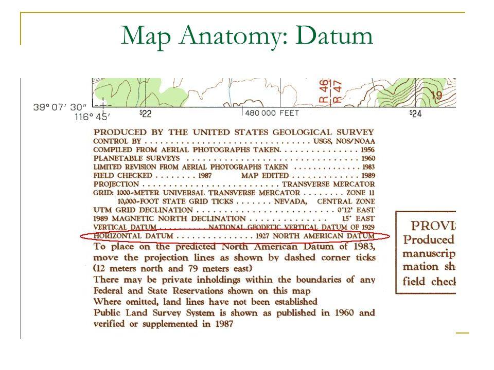 Map Anatomy: Datum El Datum suele aparecer cerca de la escala del mapa.