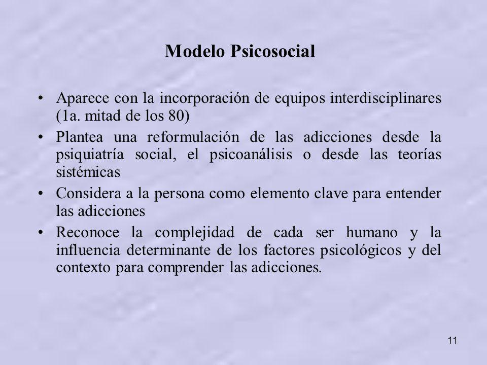 11 Modelo Psicosocial Aparece con la incorporación de equipos interdisciplinares (1a. mitad de los 80) Plantea una reformulación de las adicciones des