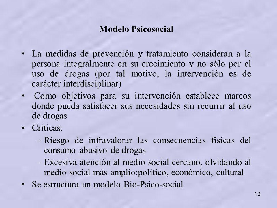 13 La medidas de prevención y tratamiento consideran a la persona integralmente en su crecimiento y no sólo por el uso de drogas (por tal motivo, la i