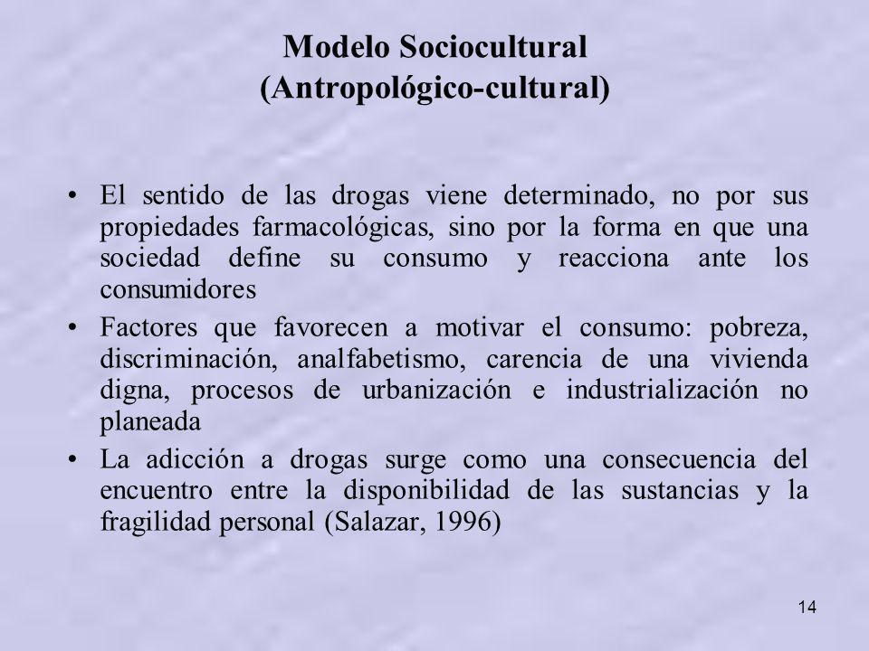 14 Modelo Sociocultural (Antropológico-cultural) El sentido de las drogas viene determinado, no por sus propiedades farmacológicas, sino por la forma