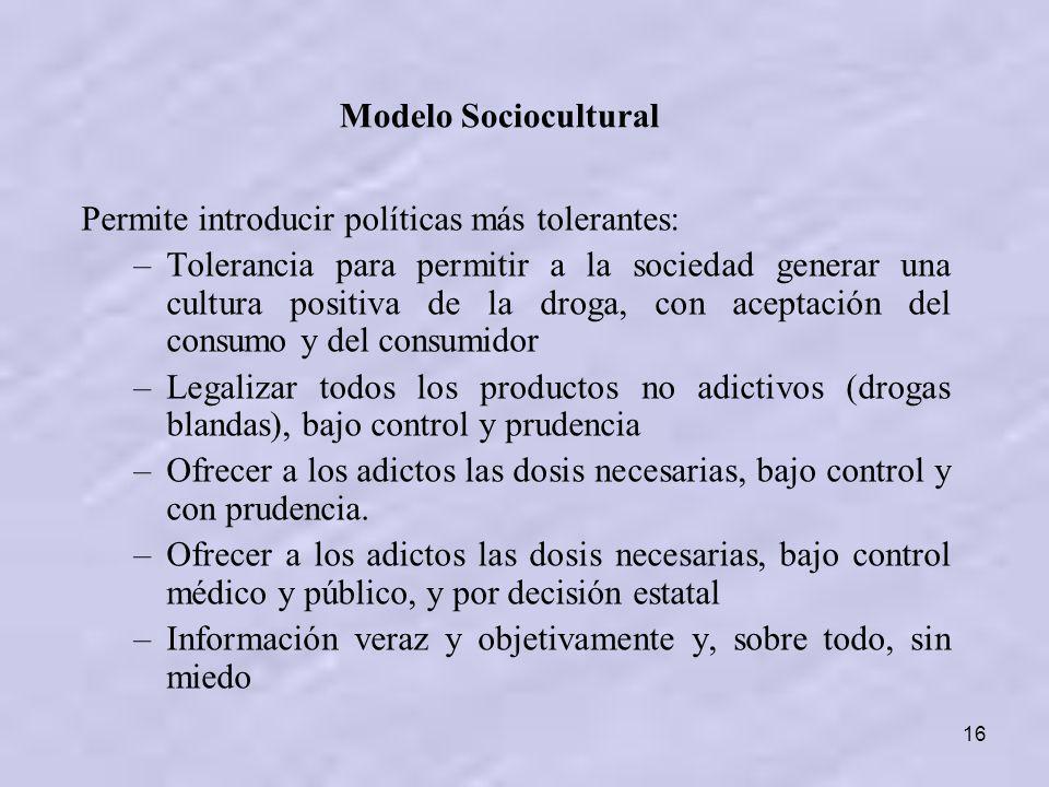 16 Permite introducir políticas más tolerantes: –Tolerancia para permitir a la sociedad generar una cultura positiva de la droga, con aceptación del c