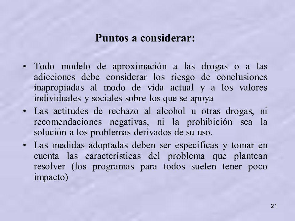 21 Puntos a considerar: Todo modelo de aproximación a las drogas o a las adicciones debe considerar los riesgo de conclusiones inapropiadas al modo de