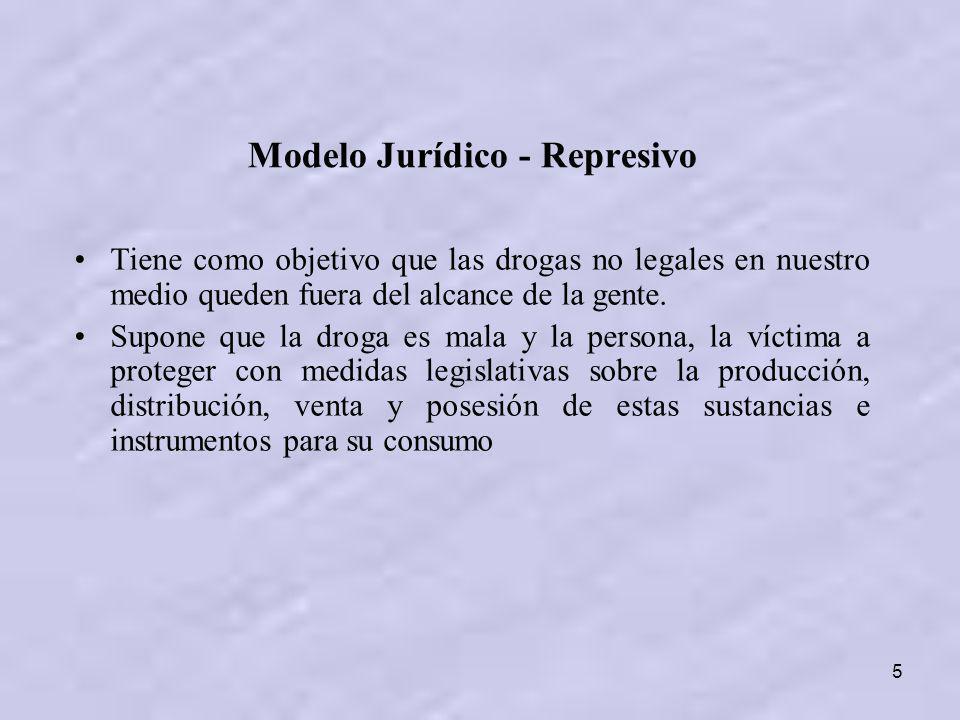 5 Modelo Jurídico - Represivo Tiene como objetivo que las drogas no legales en nuestro medio queden fuera del alcance de la gente. Supone que la droga