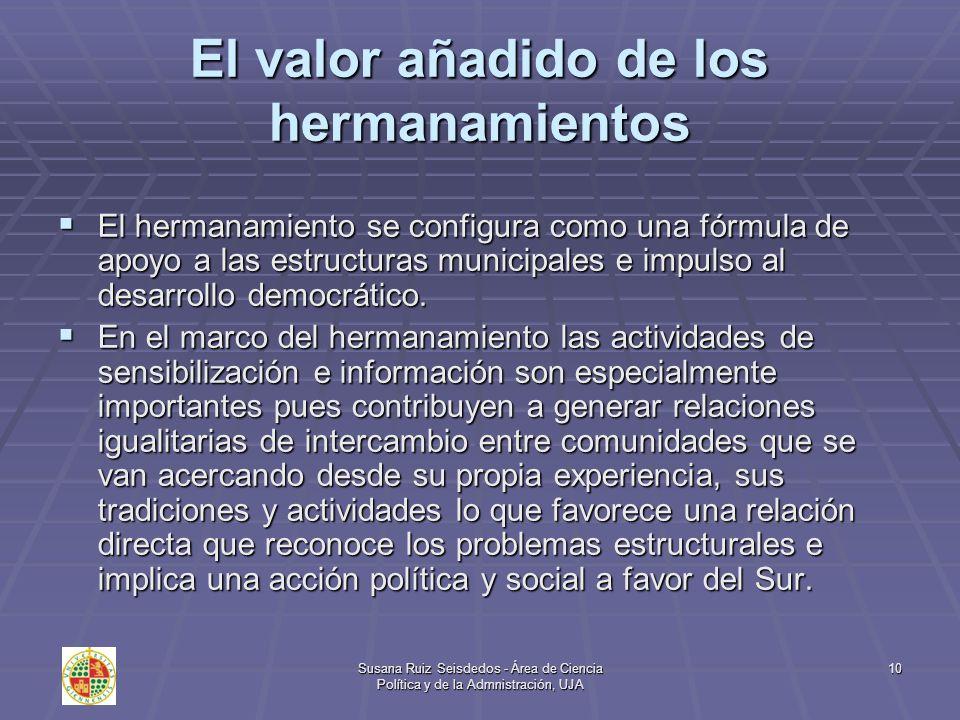 Susana Ruiz Seisdedos - Área de Ciencia Política y de la Admnistración, UJA 10 El valor añadido de los hermanamientos El hermanamiento se configura co