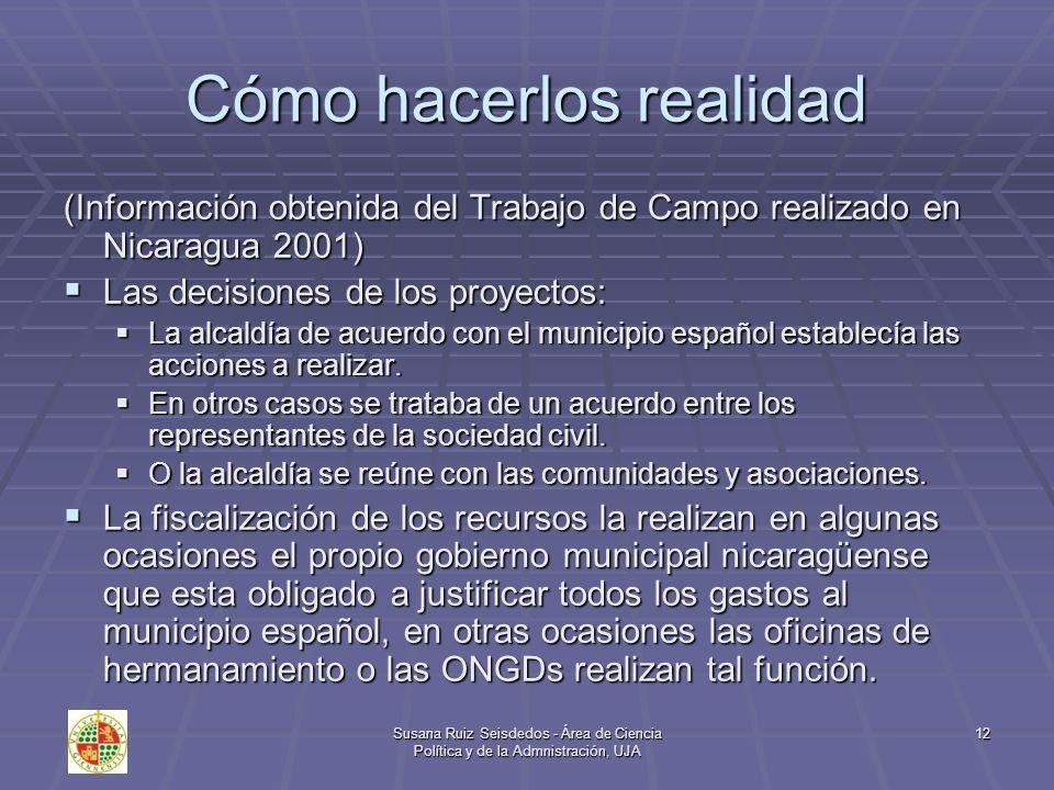 Susana Ruiz Seisdedos - Área de Ciencia Política y de la Admnistración, UJA 12 Cómo hacerlos realidad (Información obtenida del Trabajo de Campo reali