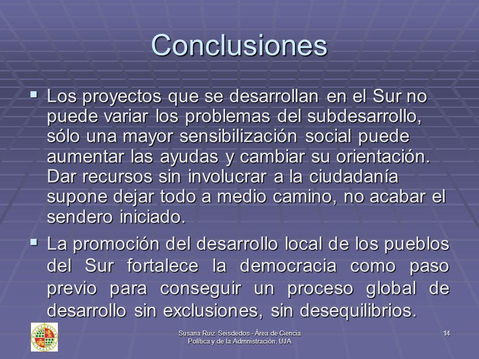 Susana Ruiz Seisdedos - Área de Ciencia Política y de la Admnistración, UJA 14 Conclusiones Los proyectos que se desarrollan en el Sur no puede variar